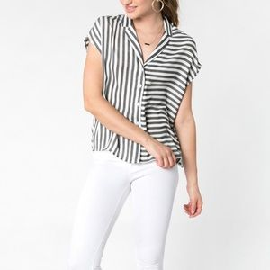Everly Striped Button-Down Top